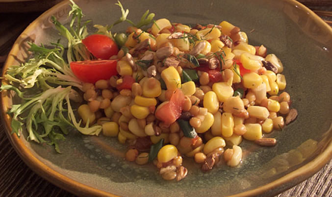 Marinated Corn and Lentil Pasta Salad