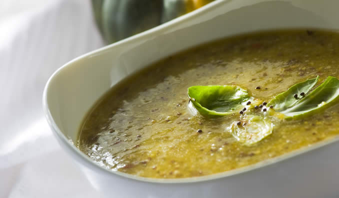 Butternut Squash Soup with Brown Mustard Seeds & Braised Brussels Sprouts