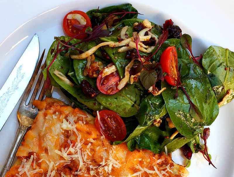 Mustard Balsamic Vinaigrette on Spinach